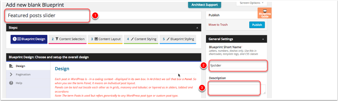 Building your first architect slider layout architect for wordpress enter title short name and description malvernweather